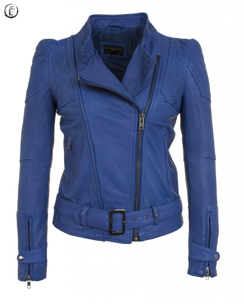 blouson cuir bleu
